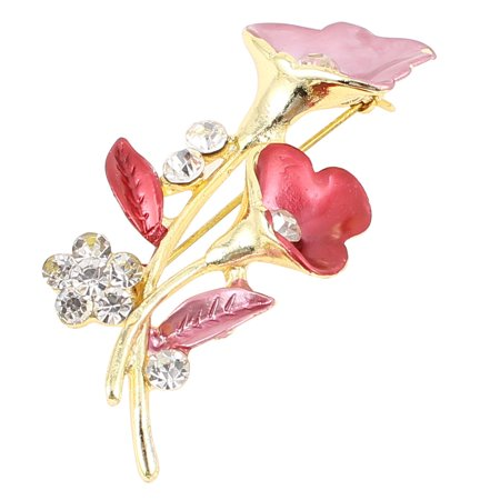 Unique Bargains Lady Glittery Faux Rhinestone Decor Flower Design  Pin Brooch Purple Red