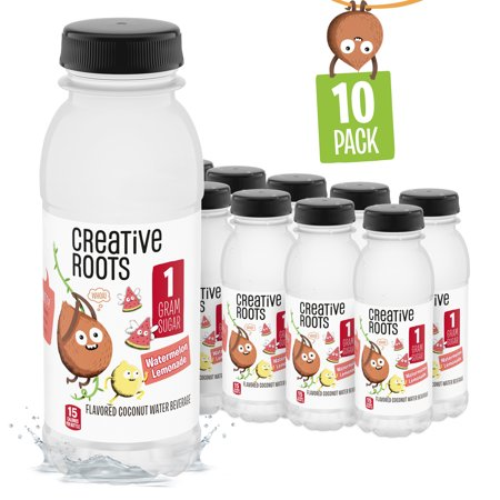 Creative Roots Watermelon Lemonade Flavored Kids Coconut Water Beverage with other natural flavors, 8.5 fl. oz. Bottles, (Pack of 10) Root 8 Oz Bottle
