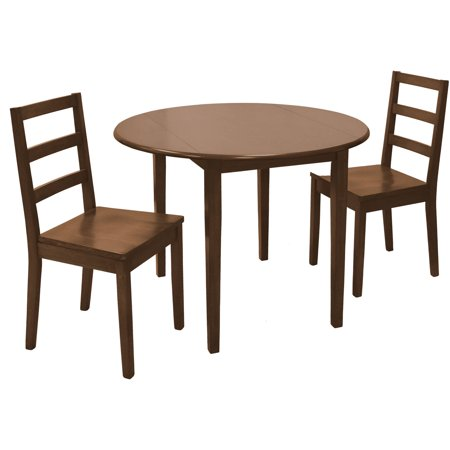 Mainstays 3 piece drop leaf dining set medium oak finish for Reasonably priced living room furniture
