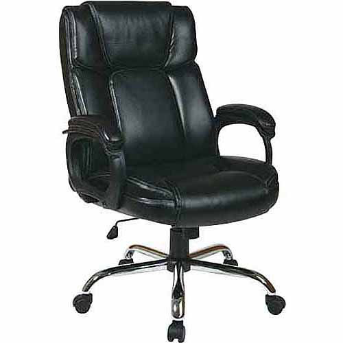 Office Star Worksmart Big Man's Executive Leather Office Chair, Black