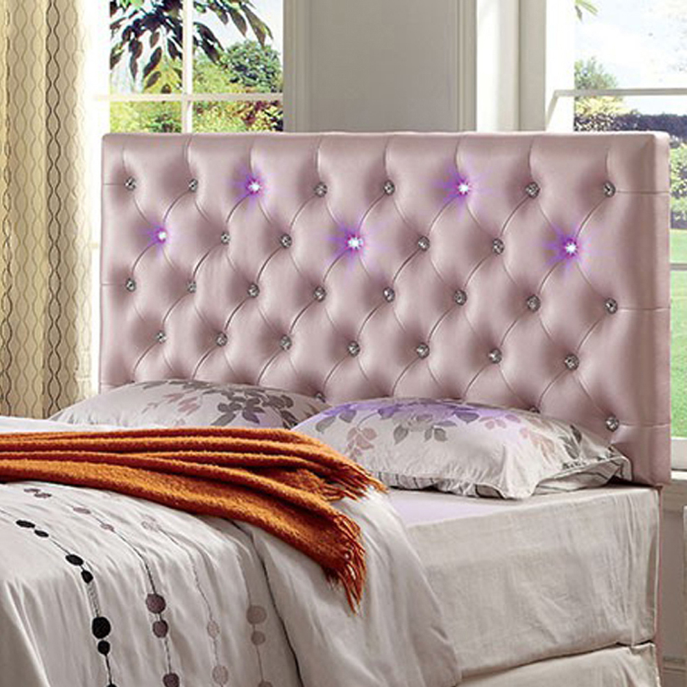 Upholstered King Bed Headboard With Led Lighting, Pink - Walmart.com