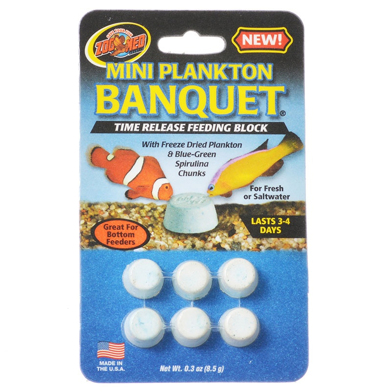 Zoo Med Aquatic Plankton Banquet Time Release Feeding Block Mini 6 Pack (3-4 Days Each) by ZOO MED LABS INC