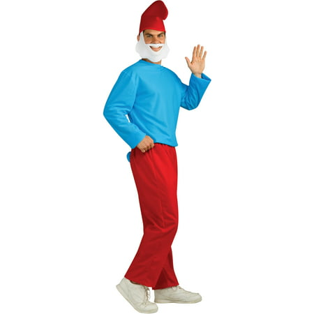 Adult Deluxe Licensed The Smurfs Papa Smurf - Papa Smurf Halloween Costume