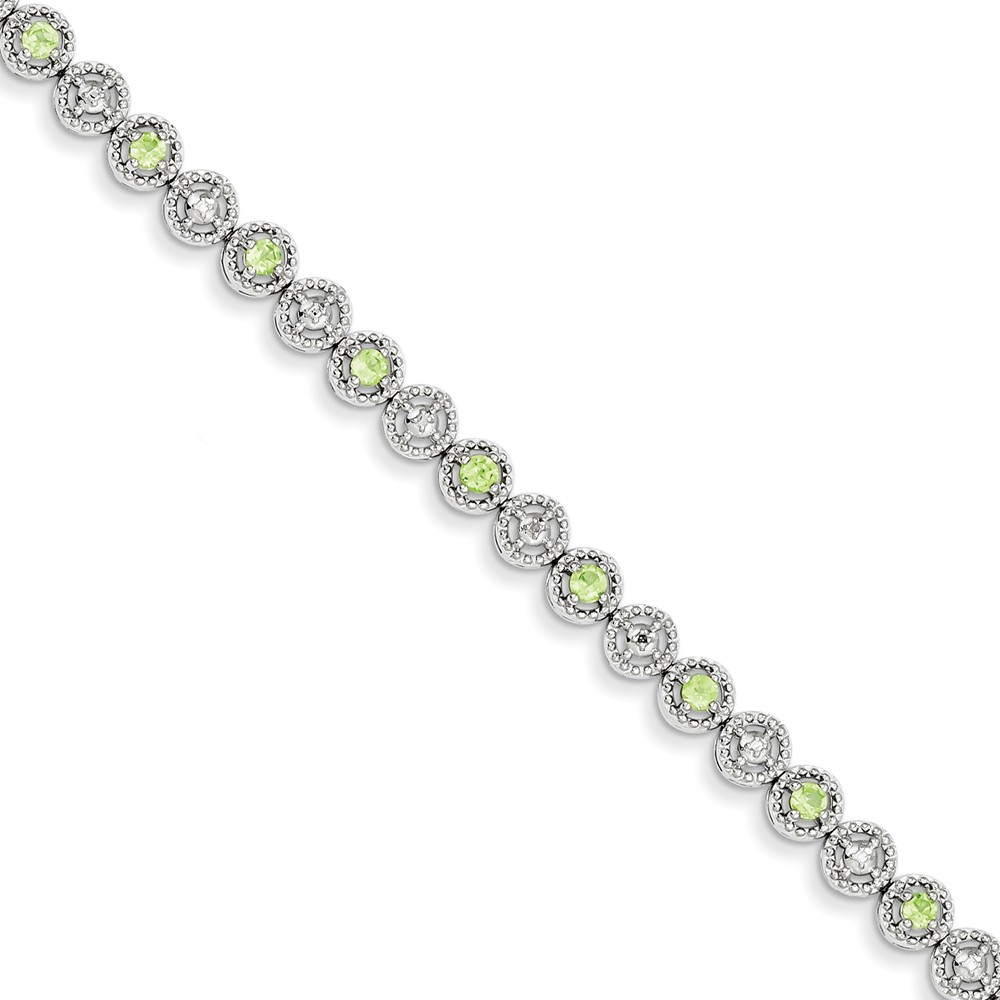 Sterling Silver Peridot Diamond Bracelet. Carat Wt- 0.02ct. Gem Wt- 1.18ct
