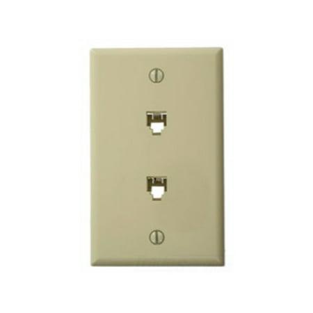 Phone Terminal - Leviton 40944-I Standard Telephone Wall Jack, 6P4C X 6P4C, Screw Terminals, Ivory