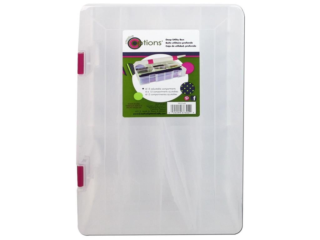 """Creative Options  Micro Double Utility Box 14 Compartments-4.375/""""X3/""""X1.25/"""" Clear"""