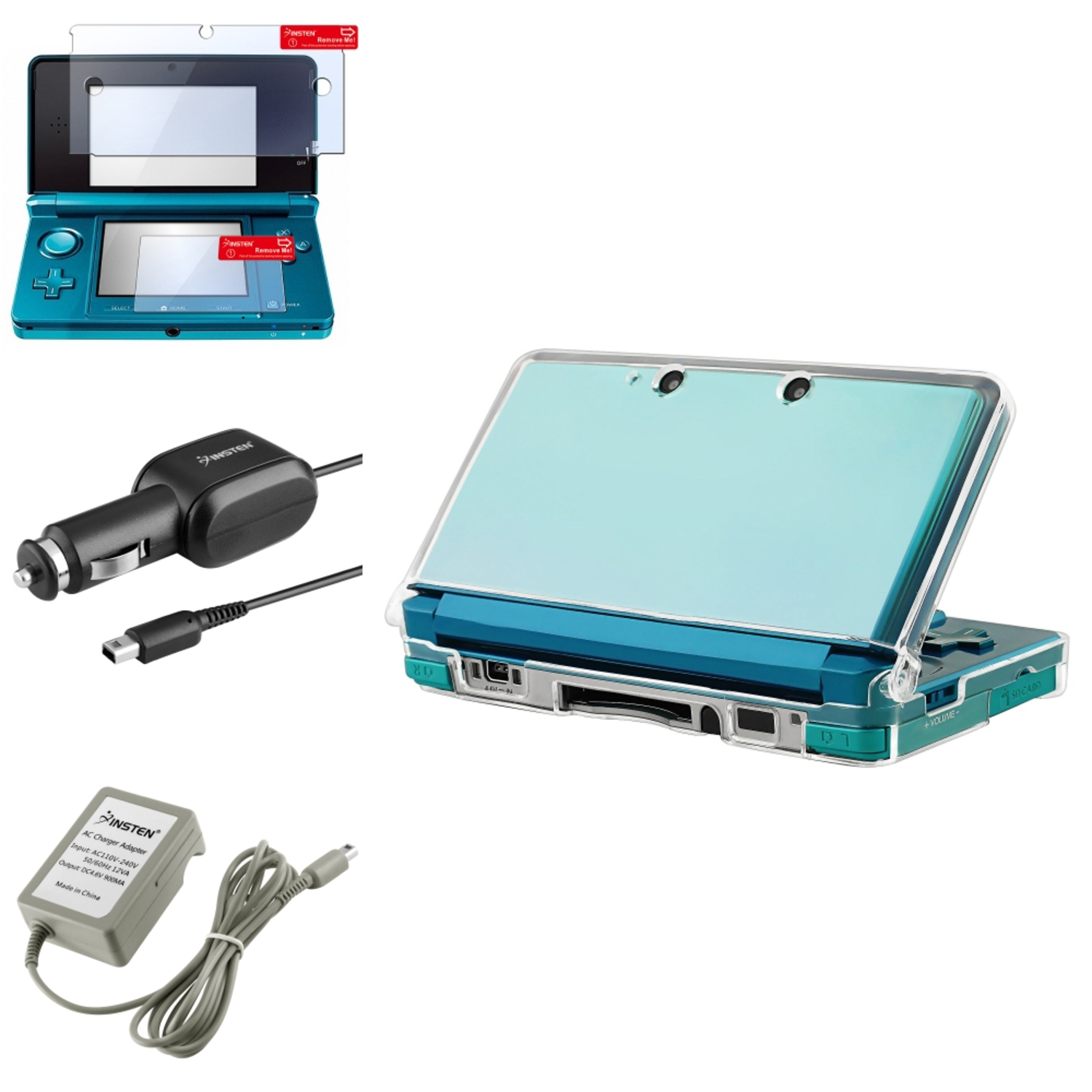 Insten 4 Accessory Bundle Set Charger Case Protector For Nintendo 3DS