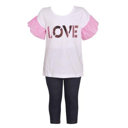 Little Girls White Pink Checkered Sleeve