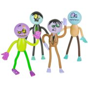 Bendable Zombies - Pack of 12 Assorted Mini Stretchy Monster Action Figures for Kids and Adults - Perfect for Halloween Decorations, Trick or Treat Bags, The Walking Dead Zombie-inspired Parties