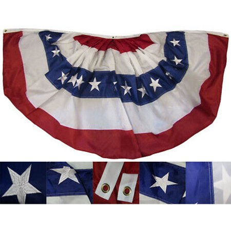 3x6 USA American 3'x6' 210D Nylon Embroidered Fan Flag Banner Bunting (RUF)