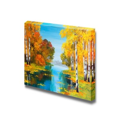 - Wall26 - Oil Painting Style Landscape Birch Forest Near The River - Canvas Art Wall Decor - 24