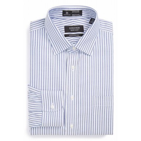 Nordstrom New White Blue Mens Size 15 Traditional Striped Dress Shirt
