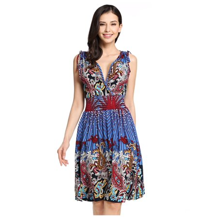 4c58f9f987 Christmas Clearance! Women Casual Low-cut V-neck Printed Sundresses ...