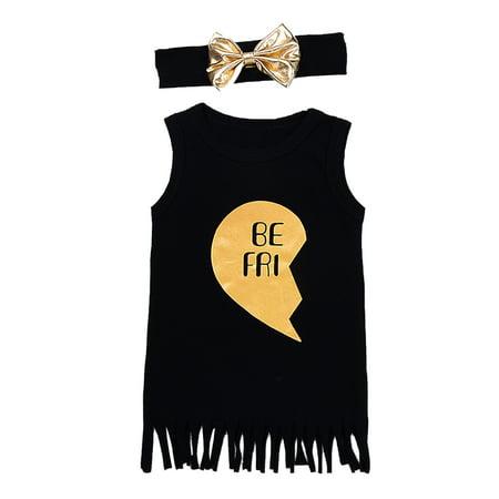 StylesILove Kids Girl Best Friend Twins Sleeveless Tassel T-shirt Dress With Bow Headband (100/18-24 Months, Black Left Heart)](Tween Fancy Dresses)