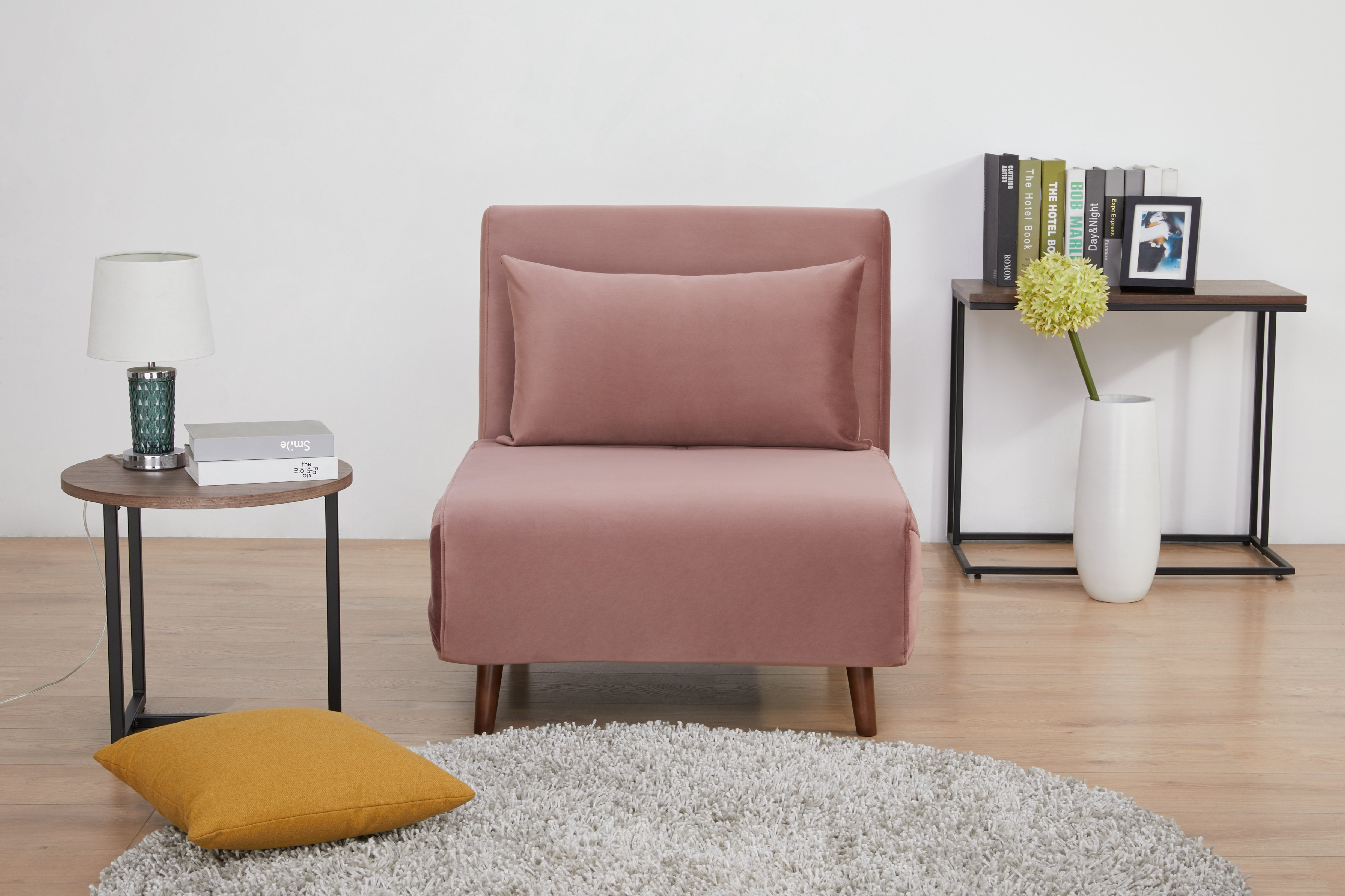 A D Home Tustin Convertible Chair Blush Pink Velvet Walmart Com Walmart Com