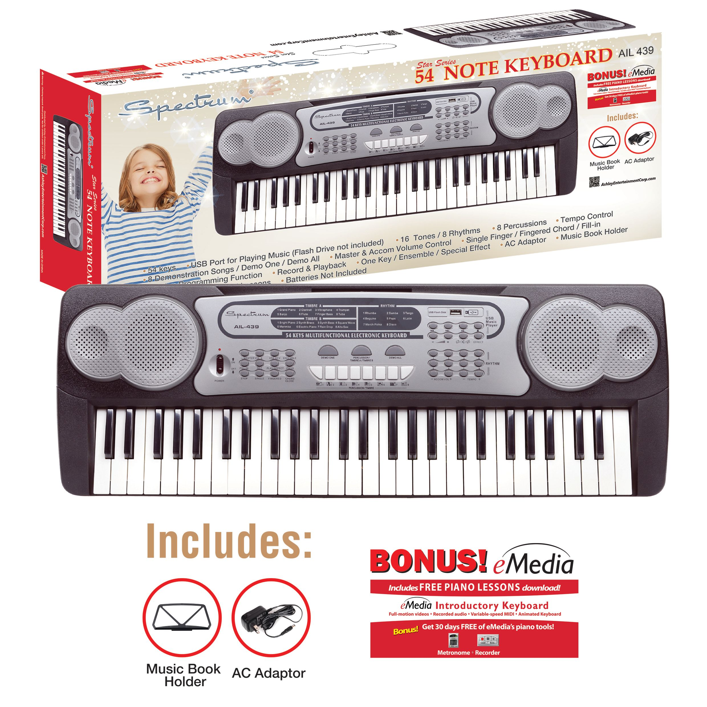 Click here to buy Spectrum AIL 439 54 Note Electric Keyboard by Ashley Entertainment.