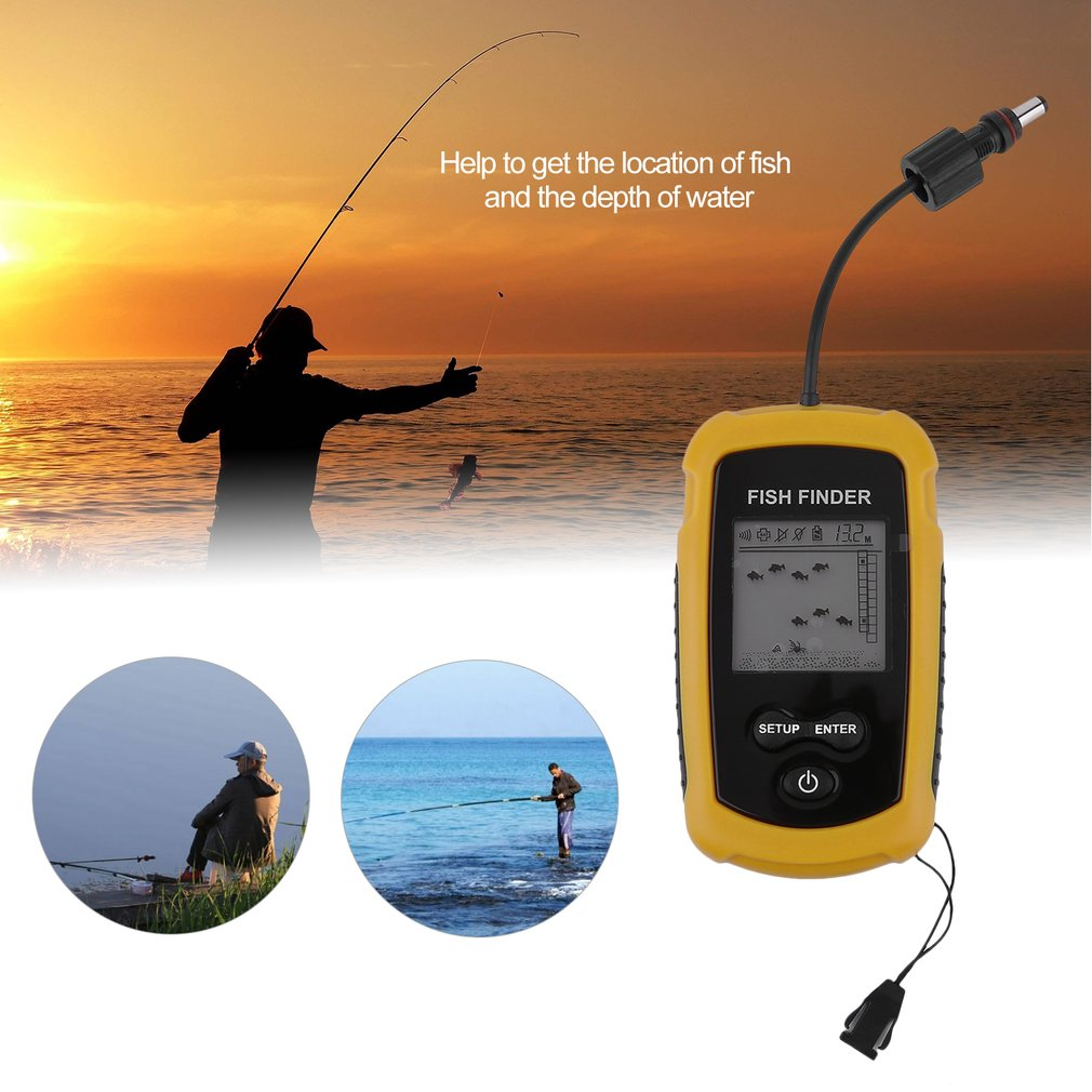 High Performance 100m Depth Fish Finder Detector Portable River Lake Sea Sonar Fishing Sensor Alarm Transducer Fishfinder