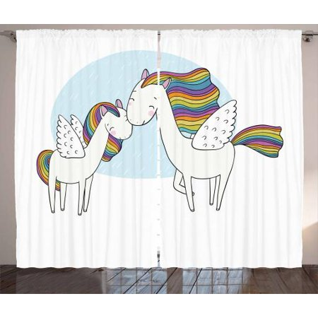 Unicorn Curtains 2 Panels Set, Pegasus Horses with Manes in Rainbow Colors and Wings Sweet Mythological Kids Tale, Window Drapes for Living Room Bedroom, 108W X 63L Inches, Multicolor, by - Rainbow Pegasus