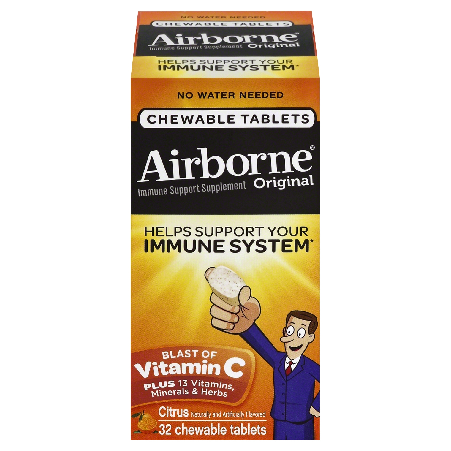 Airborne Chewable Vitamin C 1000mg Immune Support Supplement Tablets, Citrus, 32 Count