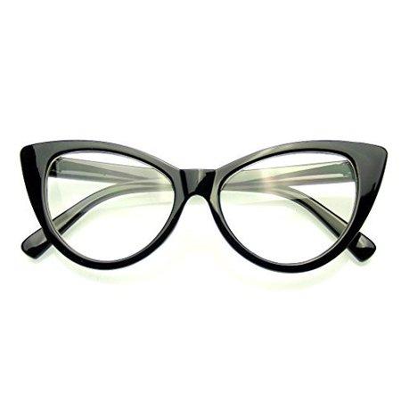 Emblem Eyewear   Super Cat Eye Glasses Vintage Inspired Fashion Mod Clear Lens Eyewear  Black