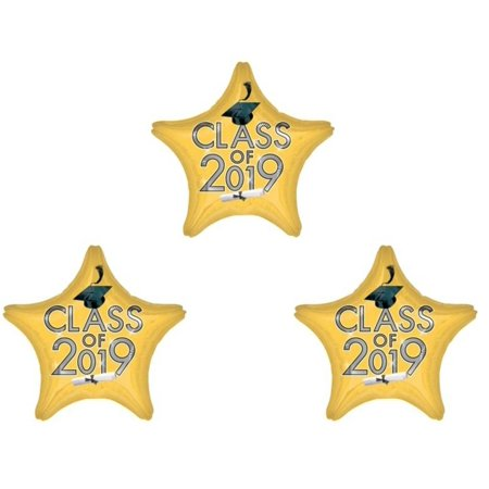 Set of 3 Gold Class of 2019 Balloons Decoration Graduation Party Supplies Mylar](Class Party)