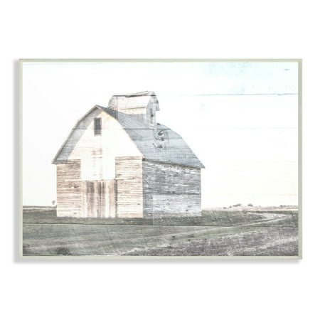 The Stupell Home Decor Collection Rustic Bright White Barn in a Field Oversized Wall Plaque Art, 12.5 x 0.5 x - Barn Dance Decor