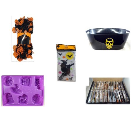 Halloween Fun Gift Bundle [5 Piece] -  Black & Orange Pumpkin Garland 10 ft. - Black With Skeleton Oval Party Tub - Gel Clings Witch, Bats, Stars - Happy  Jell-O Mold - Large Box  Wooden Craft Stick