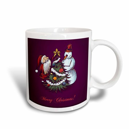 3dRose Cute Snowman With Santa Claus and Christmas Tree With The Words Merry Christmas, Ceramic Mug, 15-ounce - Cute Christmas Mugs