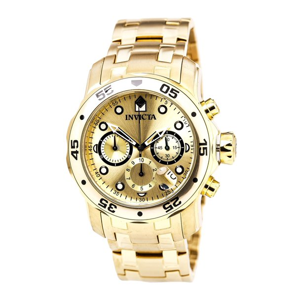 Invicta Men's 0074 Pro Diver Scuba Champagne Dial Gold Steel Bracelet Dive Watch
