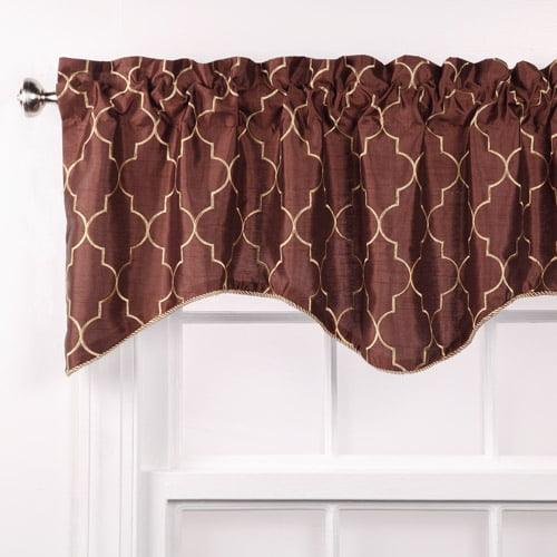 Hudson Embroidered Lined Valance with Cording by