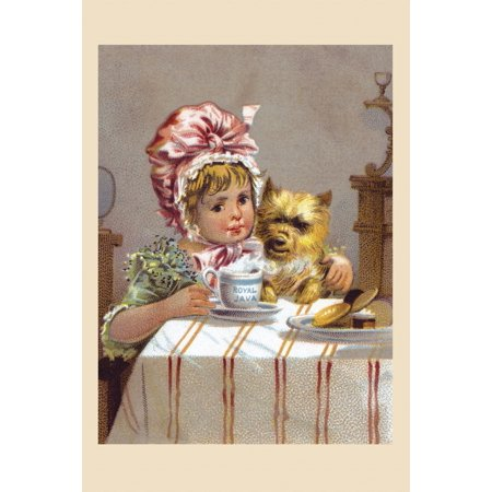 Victorian trade card for Royal Java showing a little girl holding her dog and looking at a cup of hot Java coffee Poster Print by