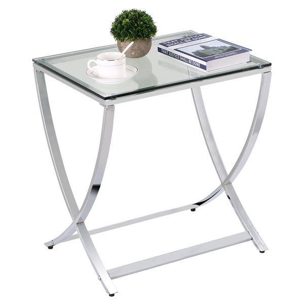 Yaheetech Stylish Clear Tempered Glass Small End Table Chrome Finish Living Room Furniture, Silver