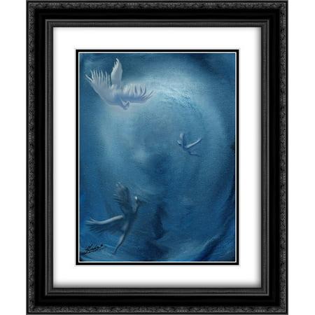 Ignote Enchanting Light Blue birds flying sky 2x Matted 20x24 Black Ornate Framed Art Print by Sundas, Marco
