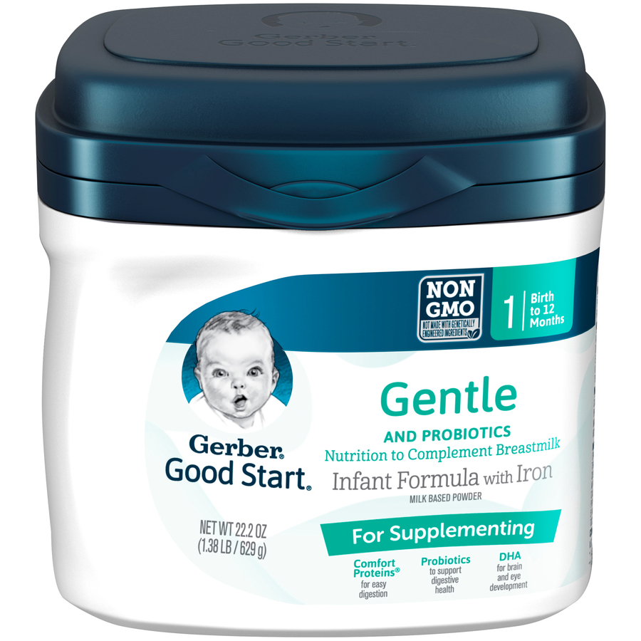Gerber Good Start Gentle for Supplementing Non-GMO Powder Infant Formula, Stage 1, 22.2 oz (Pack of 4)