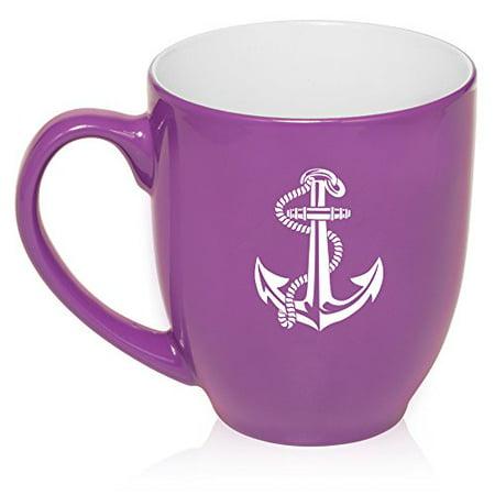 16 Oz Purple Large Bistro Mug Ceramic Coffee Tea Glass Cup Anchor With Rope Walmart Com Walmart Com