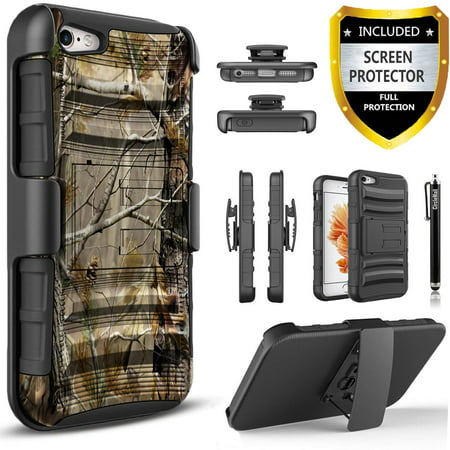 iPhone 4 Case, iPhone 4S Case, Dual Layers [Combo Holster] And Built-In Kickstand Bundled with [Premium Screen Protector] Hybird Shockproof And Circlemalls Stylus Pen
