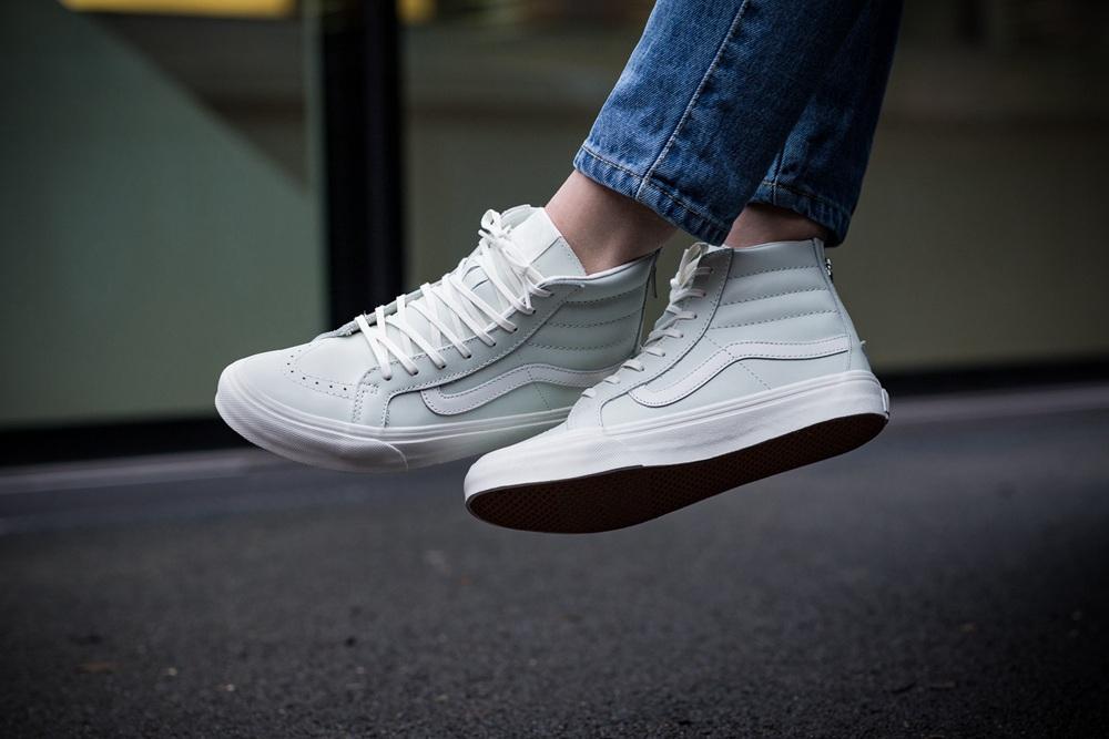 be3a2cee86 Vans - Vans Sk8-Hi Slim Zip Leather Black   Gold High-Top Skateboarding Shoe  - 7M 5.5M - Walmart.com