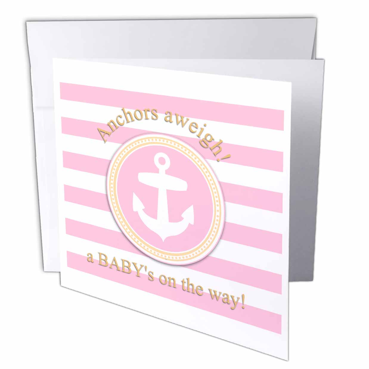 3dRose Anchors aweigh a babys on the way - for pink nautical girl baby shower, Greeting Cards, 6 x 6 inches, set of 12