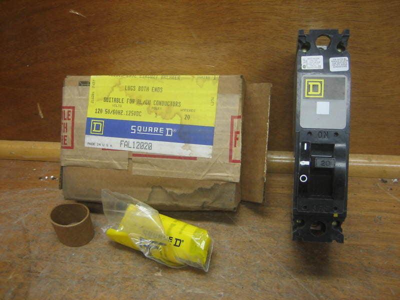 NIB SQUARE D FAL12020 FAL12020 20 AMP 1 POLE 120 V CIRCUIT BREAKER GRAY LABEL