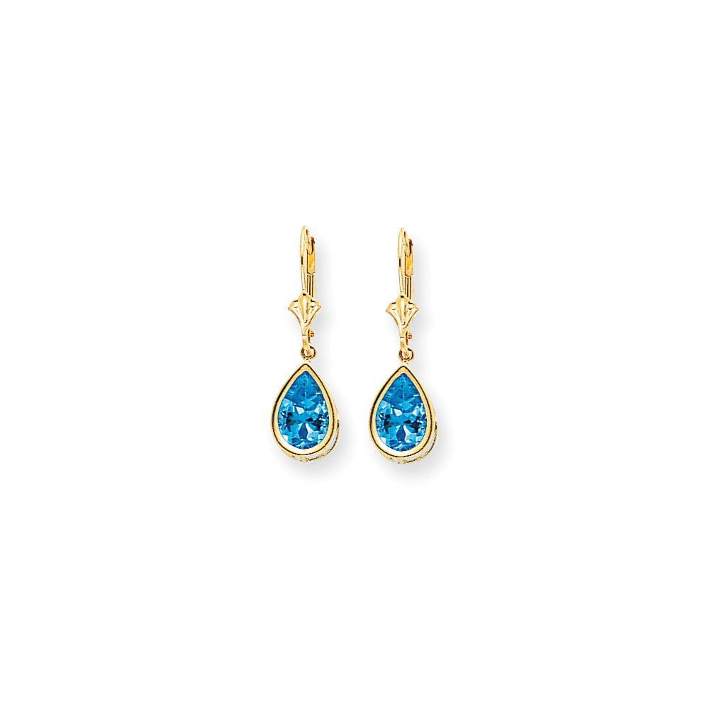 14k Yellow Gold 10x7mm Pear Blue Topaz leverback Earrings. Gem Wt- 4.5ct (1IN x 0.3IN )