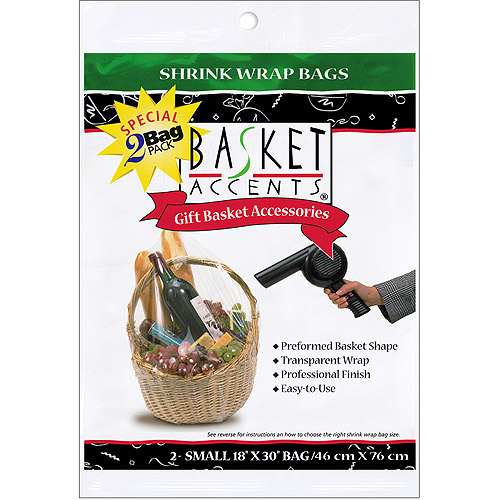 Basket Accents Small Shrink Wrap Bags 2-Pack, Clear