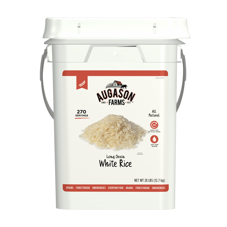 Augason Farms Long Grain White Rice Emergency Food Storage 28 Pound Pail by Blue Chip Group