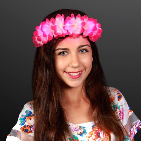 FlashingBlinkyLights Pink Light Up LED Flower Lei Headband