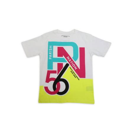 Parish Nation 100% Jersey Cotton Boys Short Sleeve Tee Shirt AOP World Print