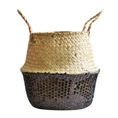 Seagrass Wicker Basket Flower Pot Folding Basket Dirty Basket Storage Decoration ()