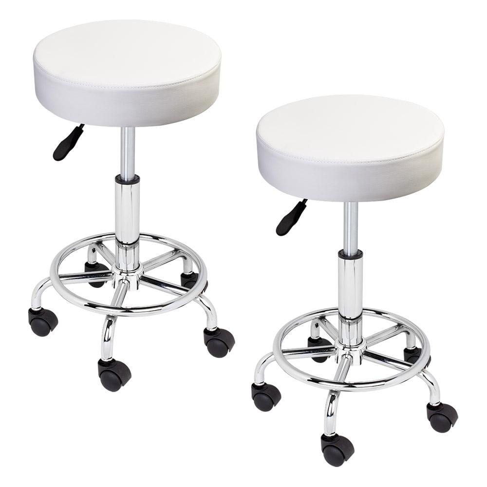 2 White Hydraulic Swivel Salon Stool Chair Massage Beauty ...