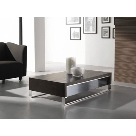 J M 888 D Contemporary Coffee Table With Oak Wooden Top Wenge Colored Finish