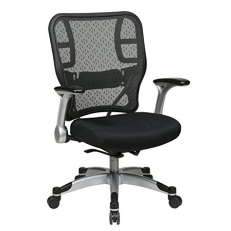 SPACE Seating Deluxe R2 SpaceGrid Back and Padded Mesh Seat, Self Adjusting Control, Platinum Finish Flip Arms and Platinum Coat