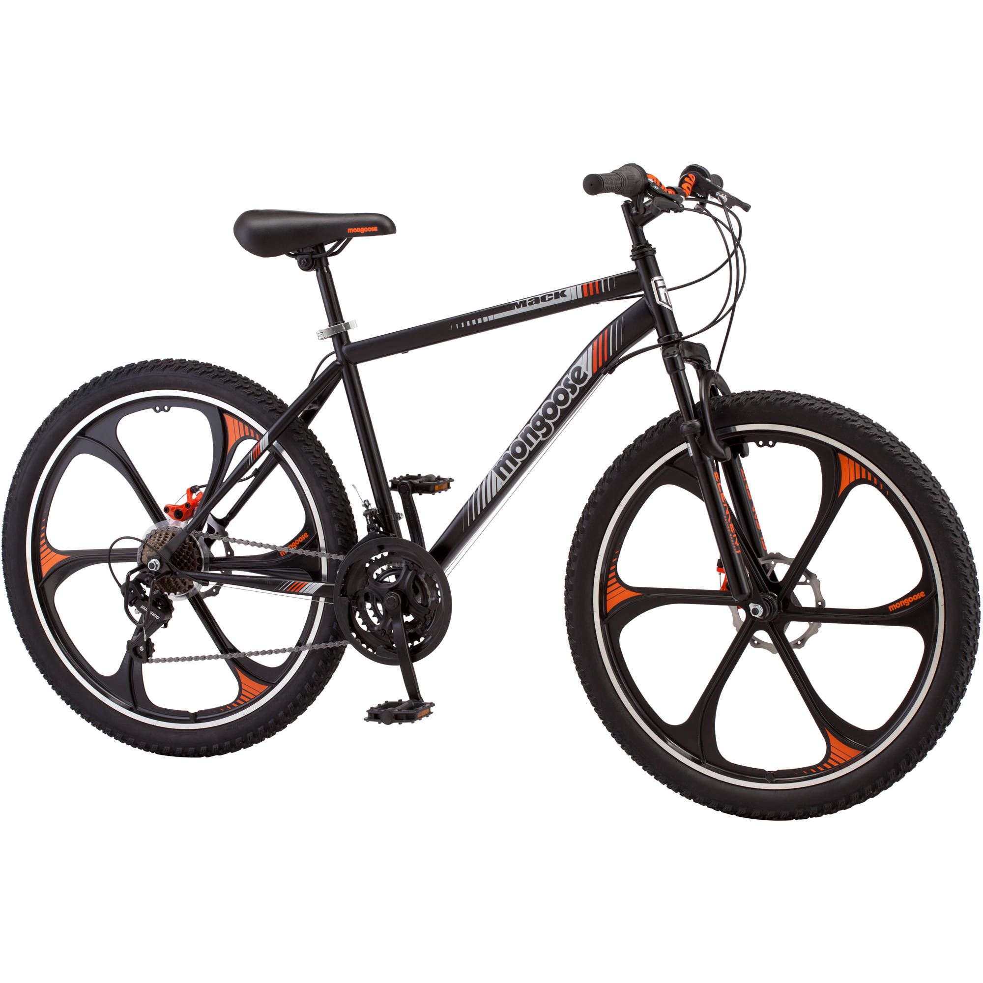 26 Inch Mens Mongoose Mack Mag Wheel Mountain Bike Bicycle Black