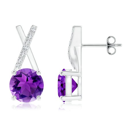 February Birthstone Earrings 6mm Solitaire Round Amethyst Xo Stud With Diamond Accents In